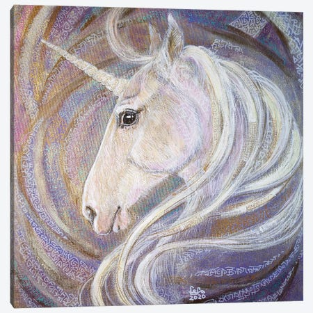 White Unicorn Canvas Print #FFK85} by Fefa Koroleva Art Print