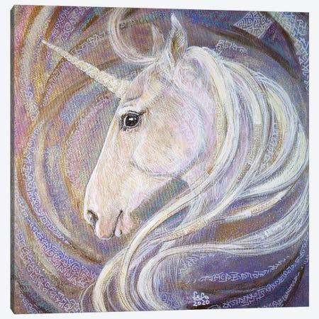 White Unicorn Canvas Print #FFK85} by Fefa Koroleva Art Print