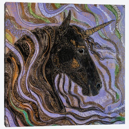Black Unicorn Canvas Print #FFK86} by Fefa Koroleva Canvas Print