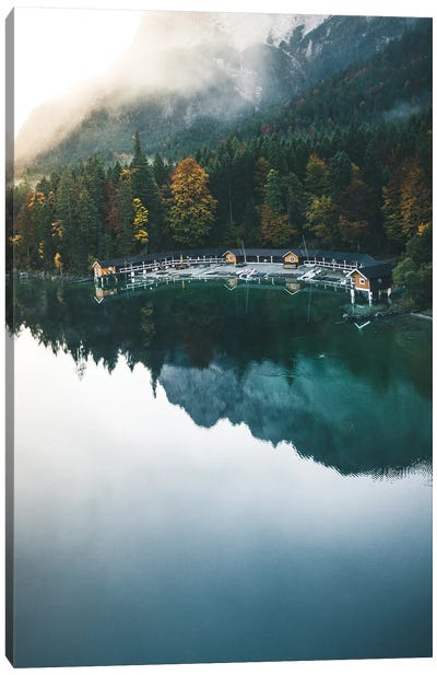 Morning By The Boathouse Canvas Art Print