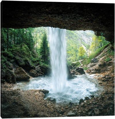 Behind The Waterfall Canvas Art Print