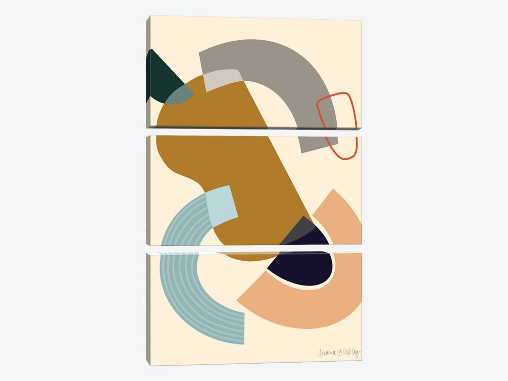 Deconstruction With Ochre by Figure Form 3-piece Canvas Wall Art