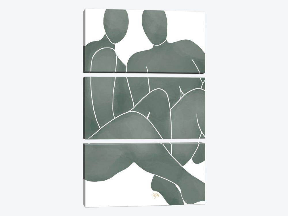 Figures Sitting by Figure Form 3-piece Canvas Art