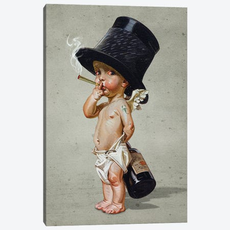 Little Smoker Canvas Print #FGM19} by Figaro Many Canvas Art