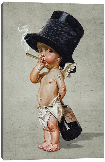 Little Smoker Canvas Art Print