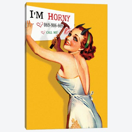 I'm Horny Canvas Print #FGM26} by Figaro Many Canvas Artwork