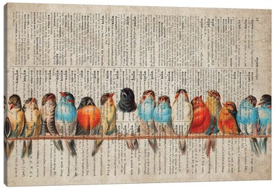 Birds In A Row On Old Dictionary Page Canvas Art Print