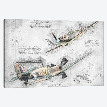 Black And White With Colour Raf Spitfire Air Force Aviation Plane Canvas Print #FHC11} by FisherCraft Canvas Art
