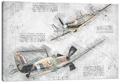 Black And White With Colour Raf Spitfire Air Force Aviation Plane Canvas Art Print
