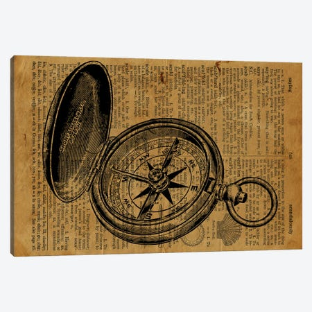 Compass Etching On Old Paper Canvas Print #FHC129} by FisherCraft Canvas Artwork