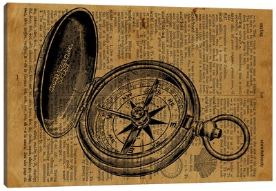 Compass Etching On Old Paper Canvas Art Print