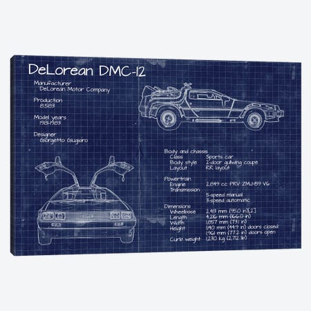 Back to the Future DeLorean Blueprint Canvas Print #FHC188} by FisherCraft Canvas Wall Art