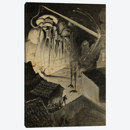 War Of The Worlds Night Time Attack Canvas Print #FHC202} by FisherCraft Art Print