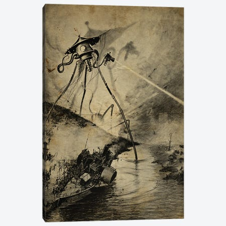 War Of The Worlds River Attack Canvas Print #FHC205} by FisherCraft Canvas Artwork