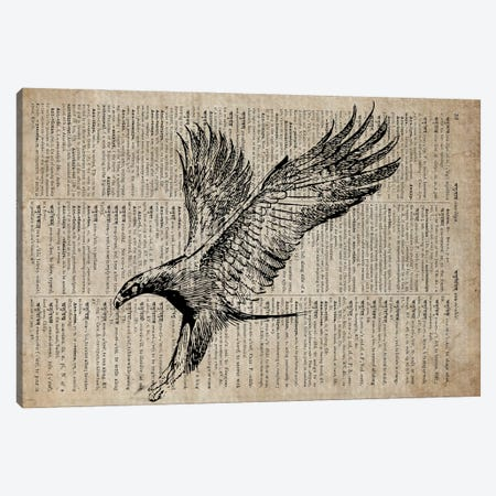 Eagle Etching Print XIII On Old Dictionary Paper Canvas Print #FHC25} by FisherCraft Canvas Art