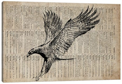 Eagle Etching Print XIII On Old Dictionary Paper Canvas Art Print