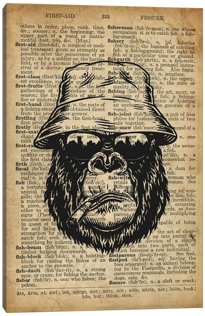 Gorilla Cool On Old Dictionary Paper Canvas Art Print