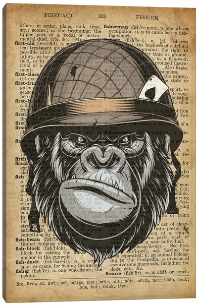 Gorilla Grunt On Old Dictionary Paper Canvas Art Print