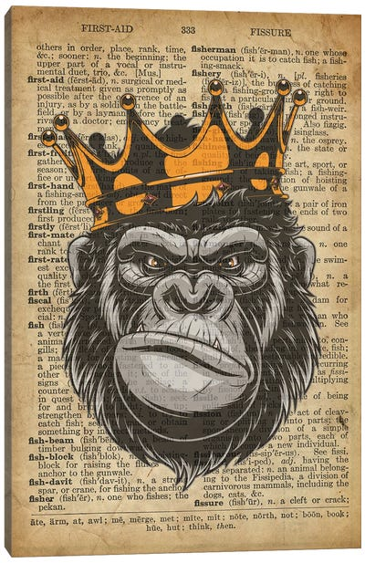 Gorilla King II On Old Dictionary Paper Canvas Art Print