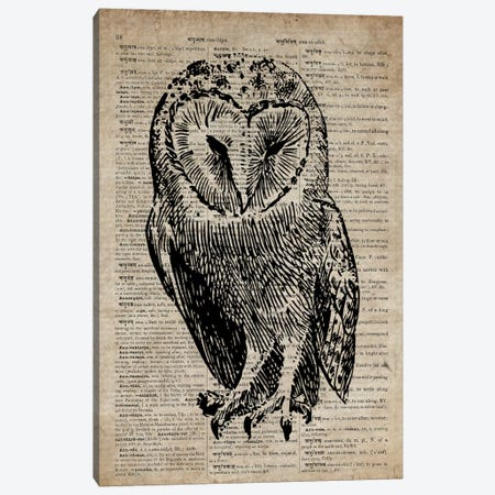 Owl Etching Print V On Old Dictionary Paper Canvas Print #FHC63} by FisherCraft Canvas Art Print