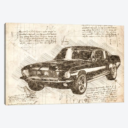 Sepia 1967 Ford Mustang Muscle Car Canvas Print #FHC75} by FisherCraft Canvas Print