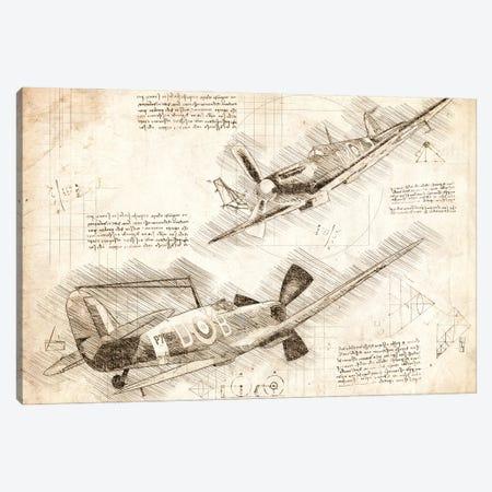 Sepia Raf Spitfire Air Force Aviation Plane Canvas Print #FHC79} by FisherCraft Canvas Artwork