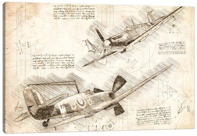 Sepia Raf Spitfire Air Force Aviation Plane Canvas Art Print