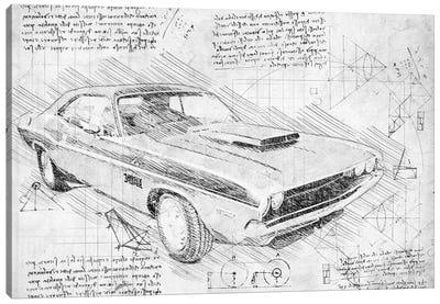 B&W 1970 Dodge Challenger Muscle Car Canvas Art Print