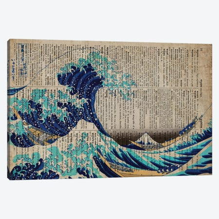 The Great Wave Off Kanagawa On Old Paper Canvas Print #FHC86} by FisherCraft Canvas Art