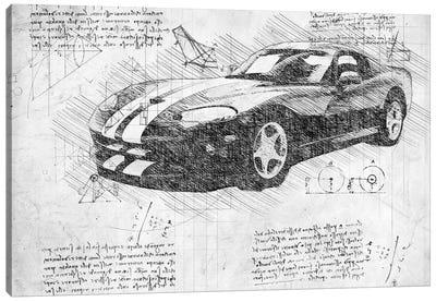 B&W 2003 Dodge Viper Zb I Muscle Car Canvas Art Print