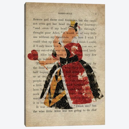 The Queen Of Hearts From Alice In Wonderland Old Page Canvas Print #FHC90} by FisherCraft Canvas Art