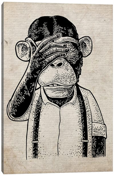 See No Evil On Old Paper Canvas Art Print
