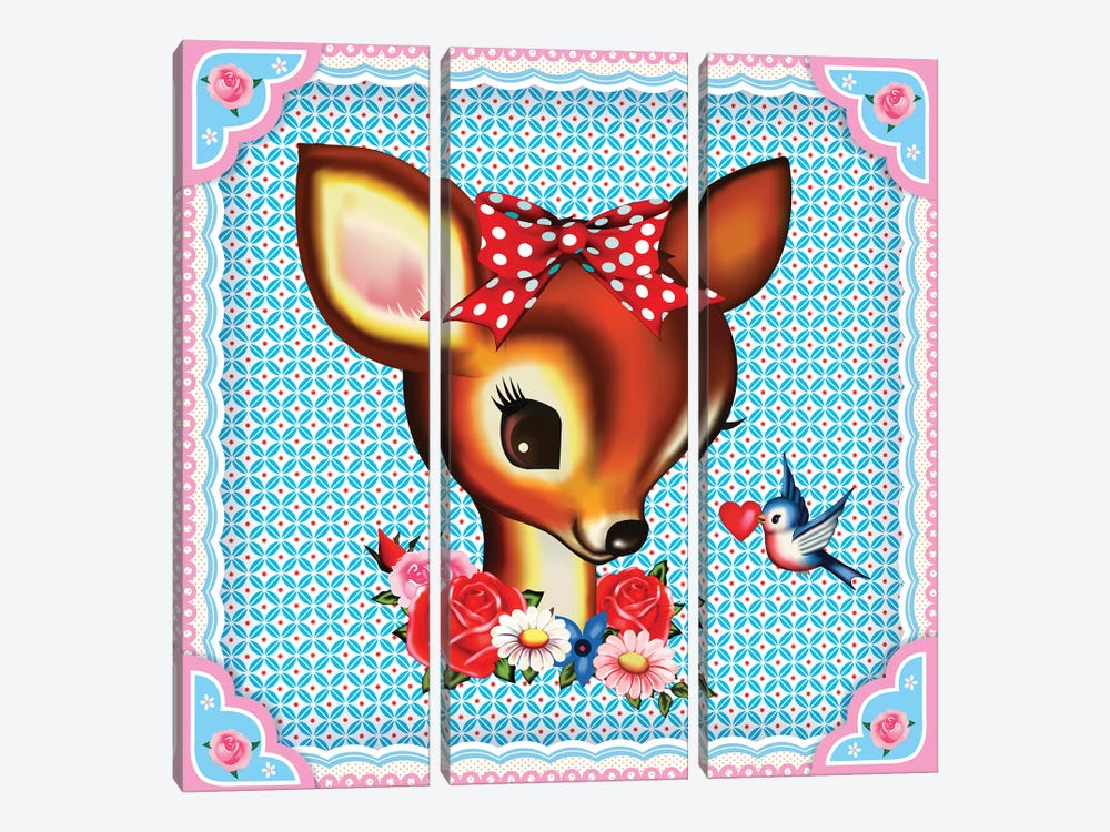 Deer Head by Fiona Hewitt 3-piece Art Print