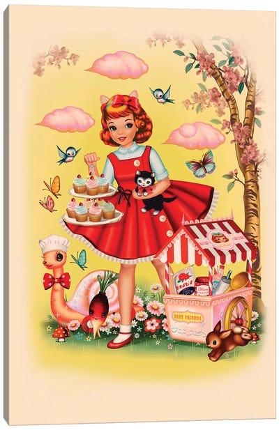 Baking Girl Portrait Canvas Art Print