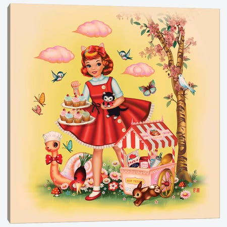 Baking Girl Square Format Canvas Print #FHE5} by Fiona Hewitt Canvas Print