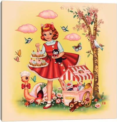 Baking Girl Square Format Canvas Art Print