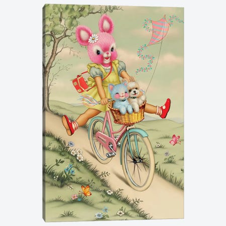 Bunny Bike Canvas Print #FHE6} by Fiona Hewitt Canvas Print