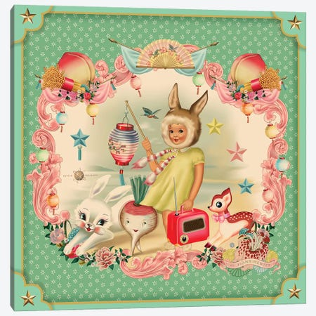 Bunny Girl Mint Canvas Print #FHE7} by Fiona Hewitt Canvas Print