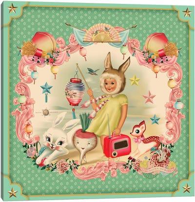 Bunny Girl Mint Canvas Art Print