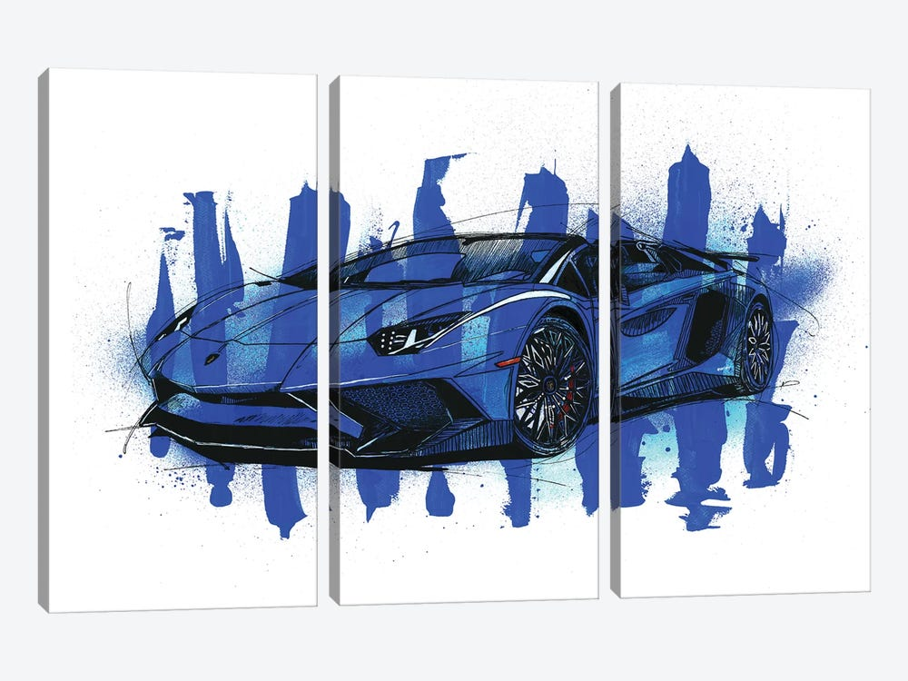 Aventador SV LP750-4 by Frank Banda 3-piece Canvas Art