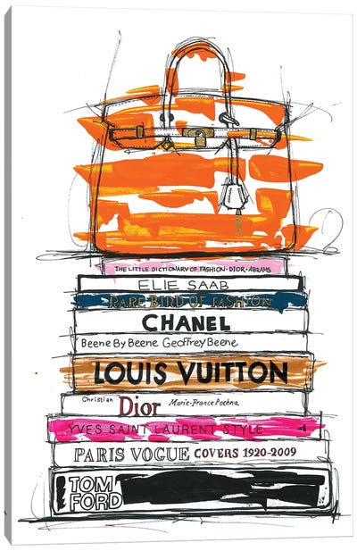 Birkin Bag And Fashion Books Canvas Art Print