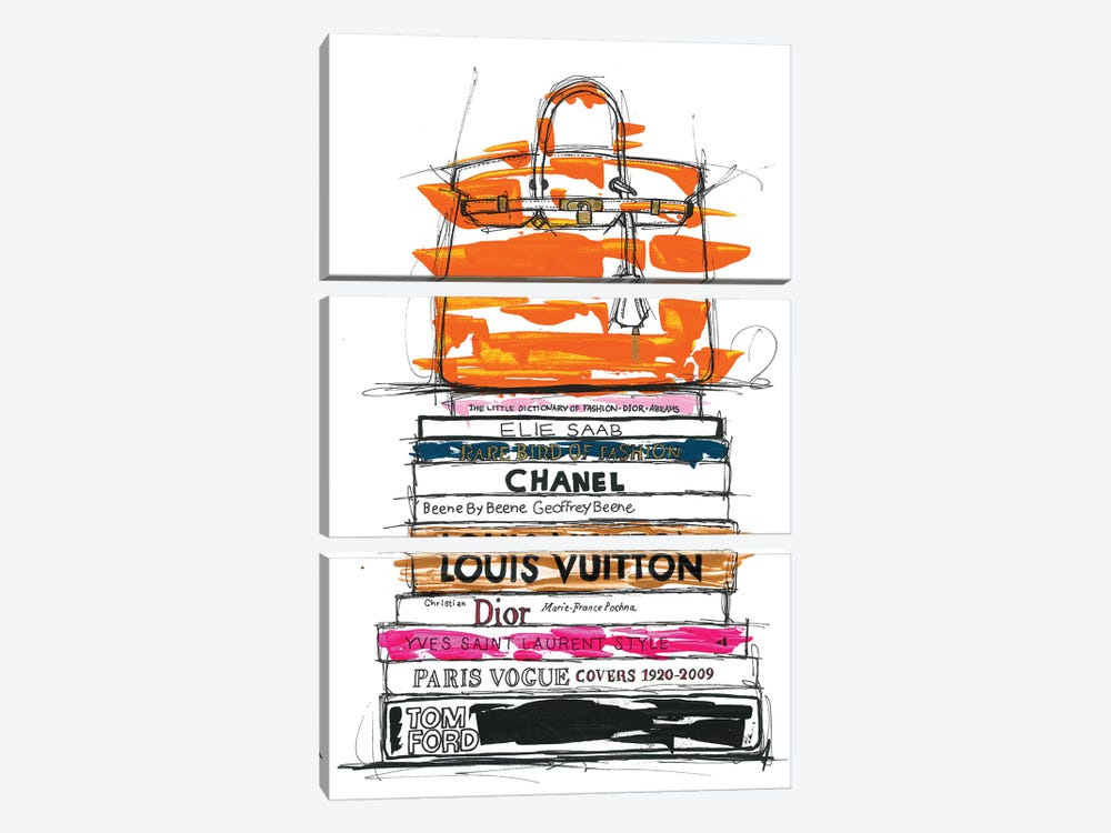 Birkin Bag And Fashion Books by Frank Banda 3-piece Canvas Wall Art