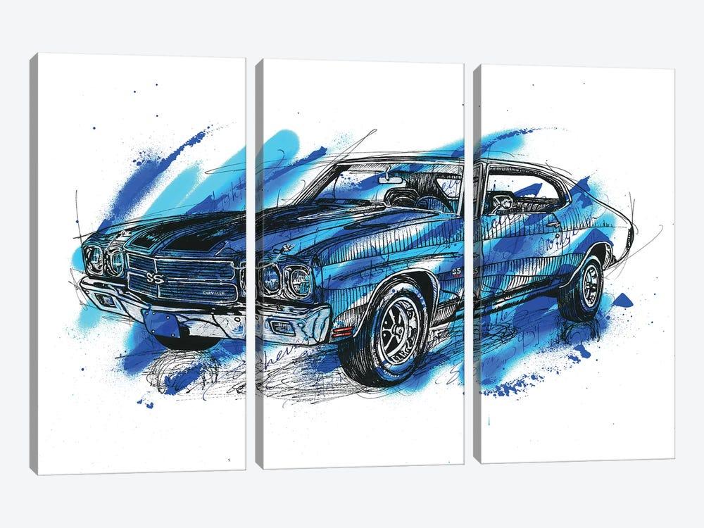 Chevelle SS 1970 by Frank Banda 3-piece Canvas Art Print