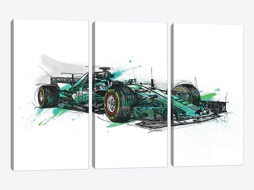 F1 Hamilton by Frank Banda 3-piece Canvas Artwork