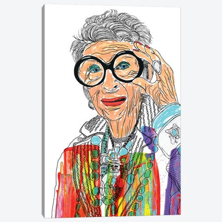 Iris Apfel Canvas Print #FJB57} by Frank Banda Canvas Art Print