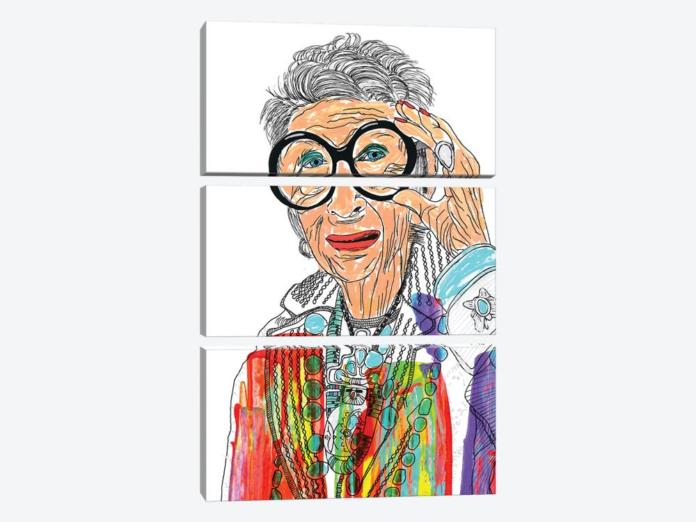 Iris Apfel by Frank Banda 3-piece Canvas Artwork