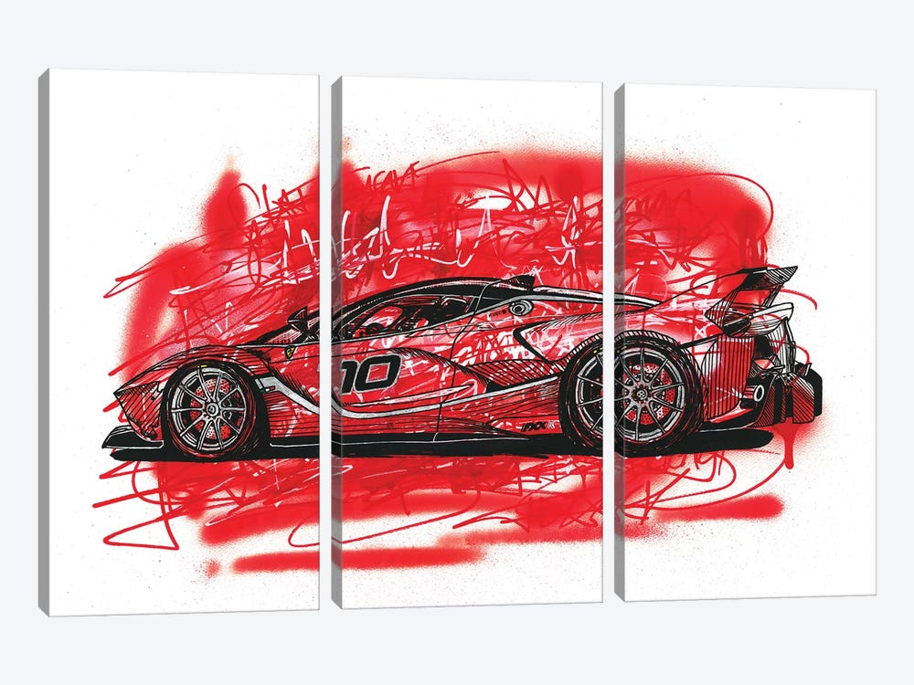 La  Ferrari FXX K by Frank Banda 3-piece Canvas Artwork