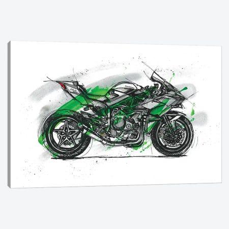 Ninja H2R Canvas Print #FJB73} by Frank Banda Canvas Art