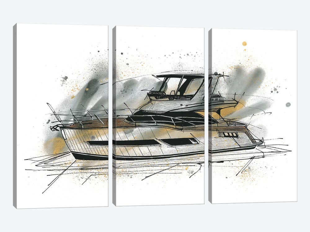 Yachting by Frank Banda 3-piece Canvas Print