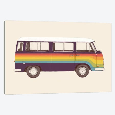 Van Rainbow Canvas Print #FLB112} by Florent Bodart Canvas Wall Art